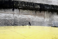 A Wet Yellow Street and a Silver Iron Wall