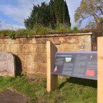 Restored Lady Ardoch mausoleum with interpretation panel. Image Andrew Dowsett