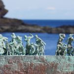 Widows & Bairns sculpture, Eyemouth, Berwickshire 3, detail of