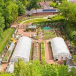 Aerial showing the growing compound and community building of Castlebank Horticultural Centre