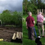 Construction of the reimagined Timber Circle, May 2014, by Murphy Construction (Contractors to SSE/Hydro) and Trail visitors examining the information panel by the completed timber circle.