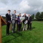 Dr Rebecca Boyle, Head of Archaeology and World Heritage, Historic Environment Scotland, after the unveiling of the two final Trail interpretation panels, 10th September 2019. Also shown left to right: Rian Harvey (Head Boy), John Donnelly (Head Teacher & Campus Leader), Ian Hamilton (Chair, SAHS), Jessica Murphy (Head Girl).