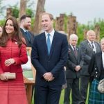 The Earl and Countess of Strathearn, William and Catherine, with the official unveiling party of the Timber Circle and Interpretation Panel, 29th May 2014